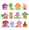 funny country buildings set vector image