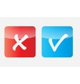 Red and Blue Check Mark Icons vector image