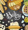 beautiful hand-draw baking on the chalkboard vector image
