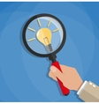 Creativity symbol with magnifying glass vector image