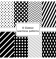 Set of 8 classic black - white seamless patterns vector image