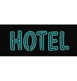 Hotel neon sign illuminated advertising with night vector image