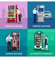Vending Machines Concept Icons Set vector image