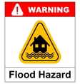 Flood Disaster Yellow Sign - House and waves on vector image