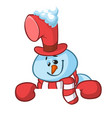 little cute smiling snowman with scarf cartoon vector image