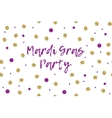 Mardi gras greeting card with violet and gold dots vector image