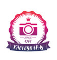 photography vintage logo with camera emblem vector image