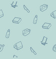 survival kit outline isometric icons pattern vector image