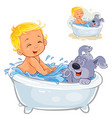 little baby taking a bath with his dog and vector image