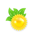 Abstract sun with green leaves isolated on white vector image