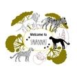 Background with savanna animals vector image