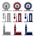 London Symbols Set - London Eye Big Ben vector image