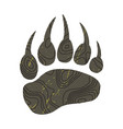 a trace a bear silhouette of paw vector image