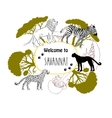 Background with savanna animals vector image