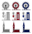 London Symbols Set - London Eye Big Ben vector image