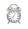 retro watch doodle line watch dial icon isolated vector image