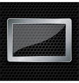 Glass in metallic frame on abstract metal speaker vector image vector image