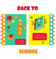 notebook covers with funny pencil and backpack vector image