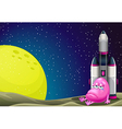 A sad monster beside the rocket in the outerspace vector image