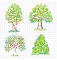 set of beautiful green trees vector image vector image