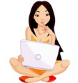 Asian girl with laptop vector image