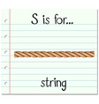 Flashcard letter S is for string vector image