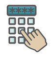 hand finger entering pin code colorful icon vector image