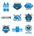scuba diving center or underwater hunt club vector image