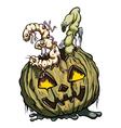 Halloween 31 date consist of rotten pumpkin and vector image