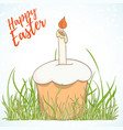 happy easter hand drawn retro card vector image