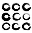 abstract black circle textured ink strokes set vector image vector image