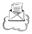 Open e-mail letter in cloud vector image
