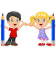 Little kids holding pencil isolated vector image