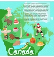 Canada map travel and landmark concept vector image