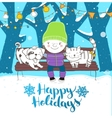 Cute boy hugs his lovely friends dog and cat vector image