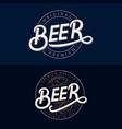 set of beer hand written lettering logos vector image