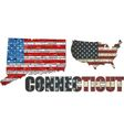 USA state of Connecticut on a brick wall vector image