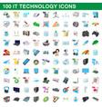 100 it technology icons set cartoon style vector image