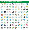 100 it technology icons set cartoon style vector image