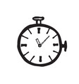 stopwatch doodle line black icon isolated on vector image