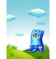 A blue monster at the hilltop vector image vector image