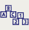 Alphabet cubes with ABC letters and numerals vector image vector image
