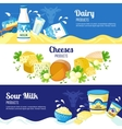 Milk And Cheese Horizontal Banners vector image vector image