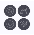Delete check and chat speech bubble icons vector image