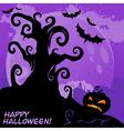 Halloween tree card lilac vector image