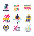 running club logo templates set emblems for sport vector image