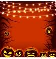 Greeting card pumpkin and dark trees Halloween vector image