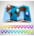 Map world with colorful pin pointers location vector image vector image