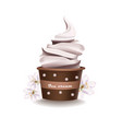 Chocolate cupcake with vanilla frosting vector image