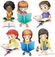 Boys and girls reading books vector image vector image